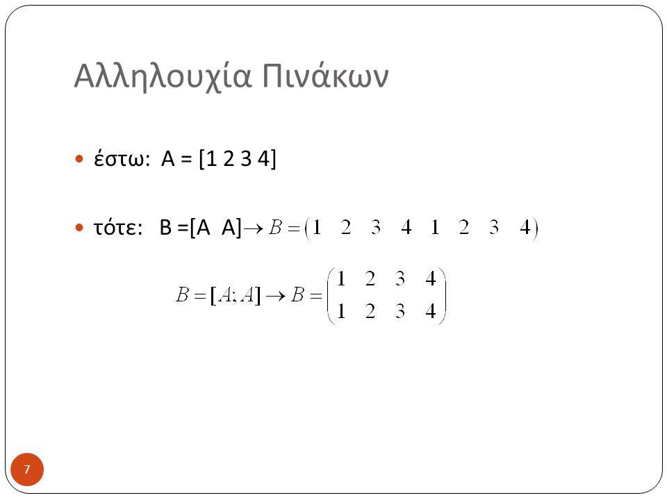 Αλληλουχία Πινάκων έστω: A = [1 2 3 4] τότε: B =[A A]